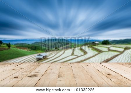 Abstract Blurred Terraced Paddy Field And View Mountain With Space.