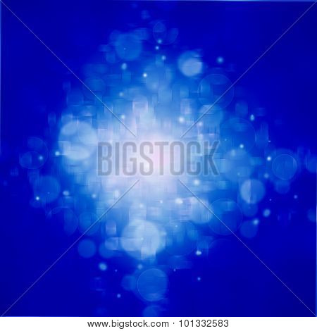 Blue Abstract Background With Bokeh Lights And Stars