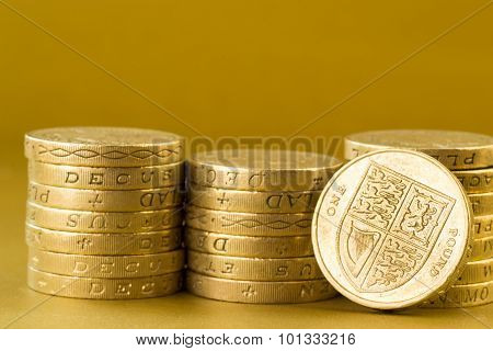 Three Stacks Of British Pound Coins