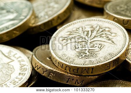 Macro Close Up Of Assorted British Pound Coins