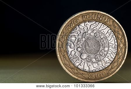 Macro Close Up Of A British Two Pound Coin