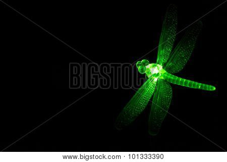 Green Glass Ornament Dragonfly Glowing At Night