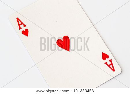 Macro Studio Image Of Ace Of Hearts Playing Card