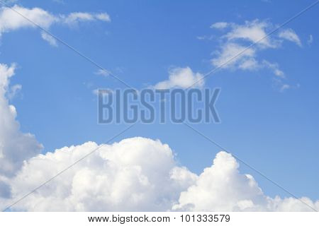 In The Blue Sky Floating Snow-white Clouds