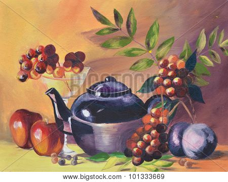 pot and fruit oil painting