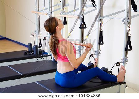 Pilates reformer woman roll up chest expansion exercise workout