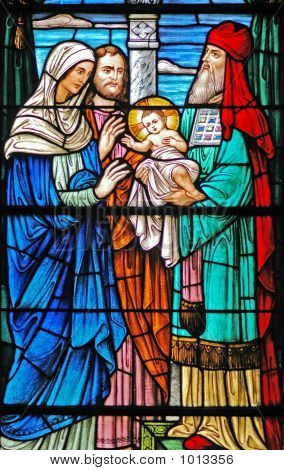 Stained Glass Window Of Baby Jesus / 3 Wise Men