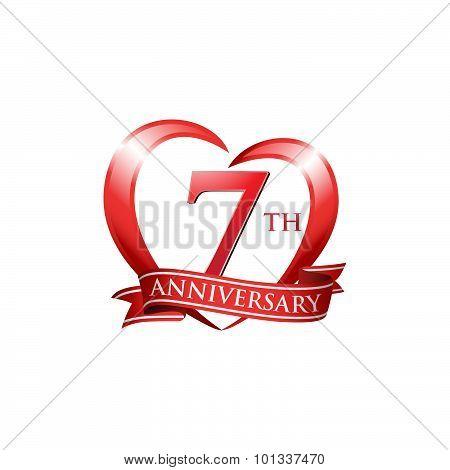 7th anniversary logo red heart ribbon