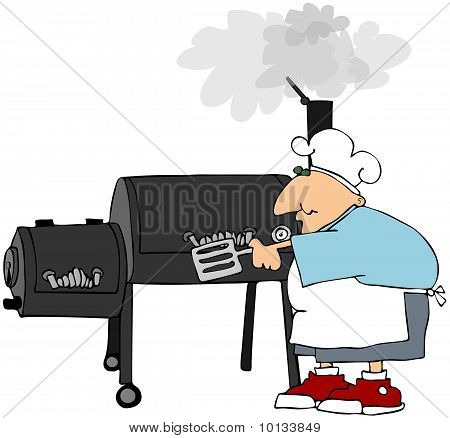 Man Cooking On A Smoker Grill