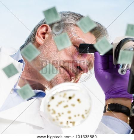 Life science researcher microscoping.