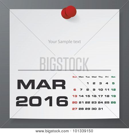 March 2016 Calendar on white paper with free space for your sample text.