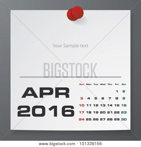 April 2016 Calendar on white paper with free space for your sample text.