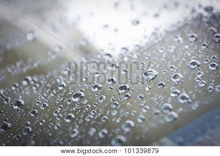 Close Up Raindrops On Glass