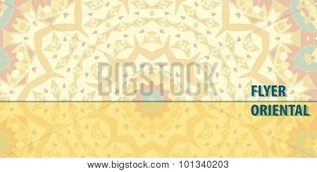 Flayer template design in yellow color. Abstract Retro Ornate Mandala Background for greeting card,