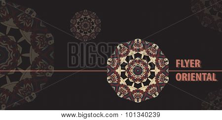 Flayer template design in brown color. Abstract Retro Ornate Mandala Background for greeting card, B