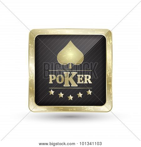 Golden poker icon with card symbol for your creative design.