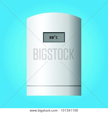 Automatic Wall Water Heater. Isolated On Blue Background.