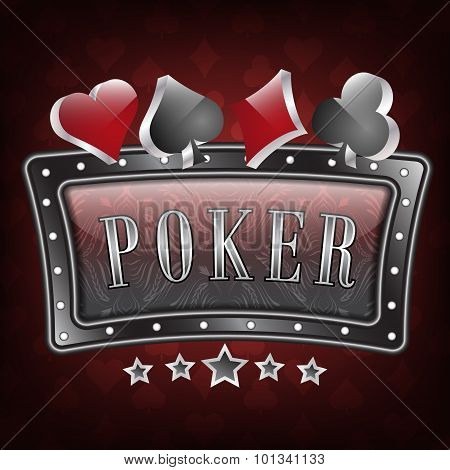 Poker vector illustration with ornate frame and card symbols on a dark red background.