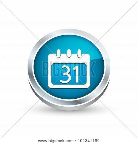 Calendar organizer vector icon, button in blue color.