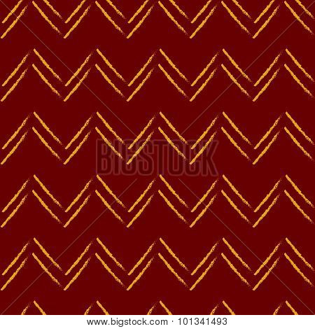 Zig-zg Seamless Pattern In Red And Yellow Colors.