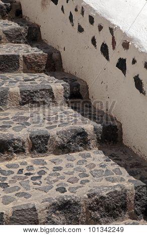 Beautiful Old Stone Unique Steps In Oia, Santorini, Greece.