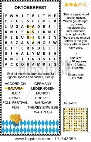 Oktoberfest wordsearch puzzle