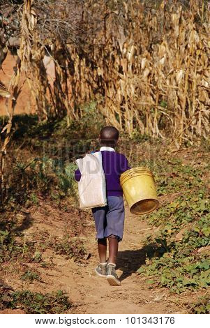 The Return From School To An African Child, Tanzania, Africa 74