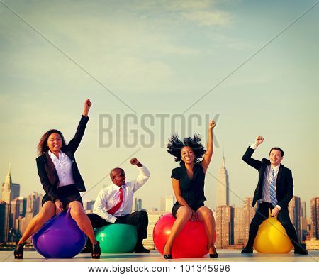 Business People In front of New York City Skyline Concept