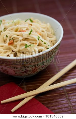 Traditional Asian Pasta Ramen Noodles In Porcelain Bowl