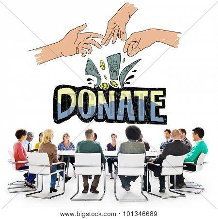 Donate Money Charity Generous Hands Concept