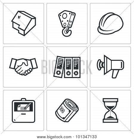 Construction Icons. Vector Illustration.