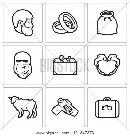 Custom Wedding - Bride Price Icons. Vector Illustration.