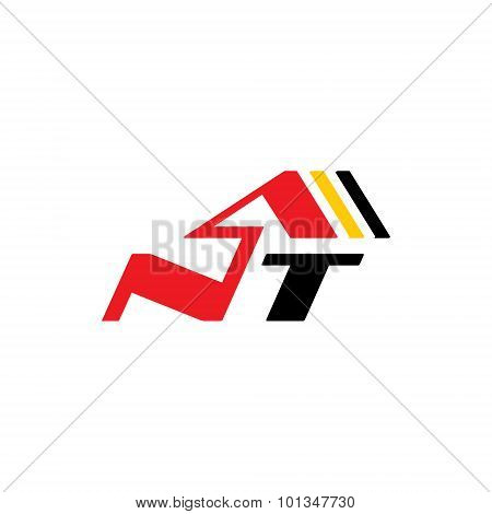 Sign of the letter N and T. Vector Illustration. Design template Isolated on a white background
