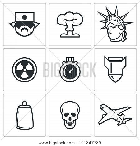 Japan and nuclear weapons icons. Vector Illustration. Vector Isolated Flat Icons collection on a white background for design