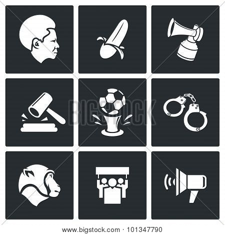 Football fans and racism icons. Vector Illustration.Isolated Flat Icons collection on a black background for design