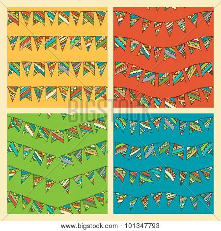 Set Of Bright Seamless Bunting Patterns.