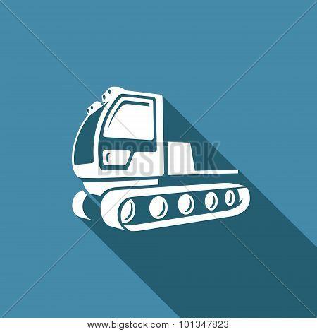 Snowcat icon. Equipment for preparation of the ski slopes. Vector Illustration.
