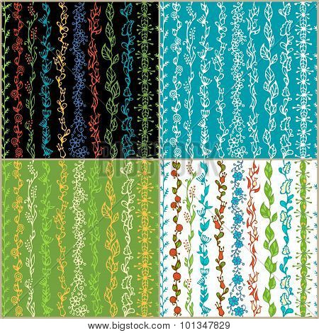 Set Of Seamless Floral Patterns.