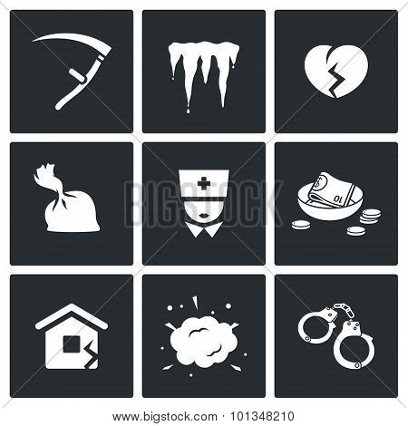 Unhappiness Icons. Vector Illustration.