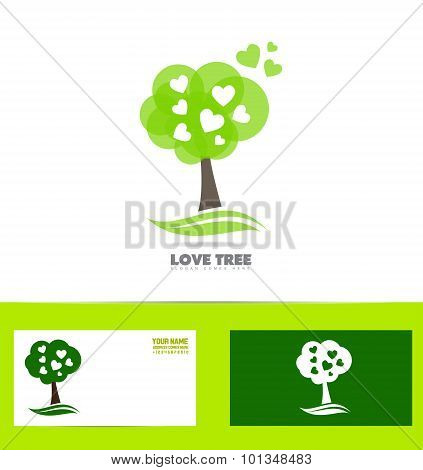 Tree Heart Love Concept Logo