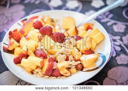 Oatmeal Cereal With Fresh Raspberries