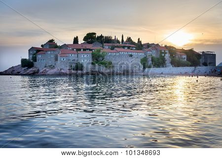 Sveti Stefan - Sant Stefan In Montenegro At The Sunset