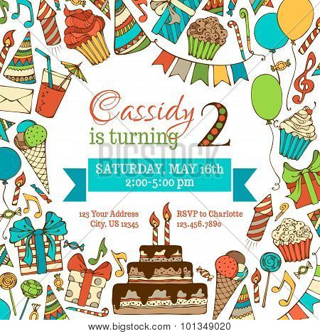 Bright Birthday Invitation Card.