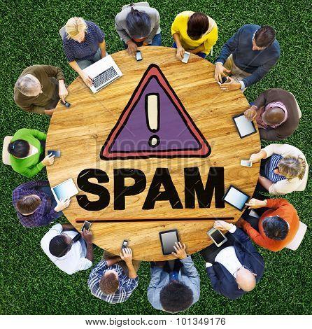 Spam Problem Virus Online Malware Hacking Concept
