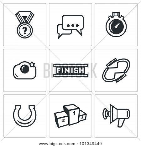 Photo Finish Icons. Vector Illustration.