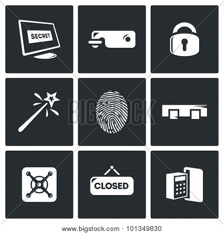 Locking Icons Set. Vector Illustration