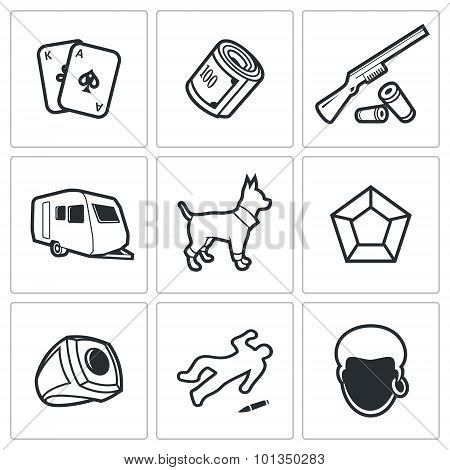 Gypsy Camp Icons. Vector Illustration.