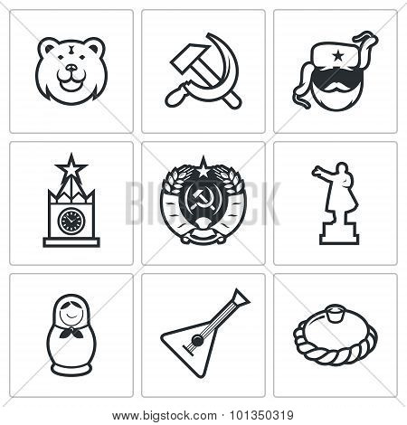Russia Icons. Vector Illustration.