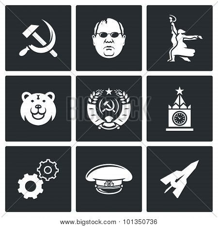Soviet Union Icons. Vector Illustration.