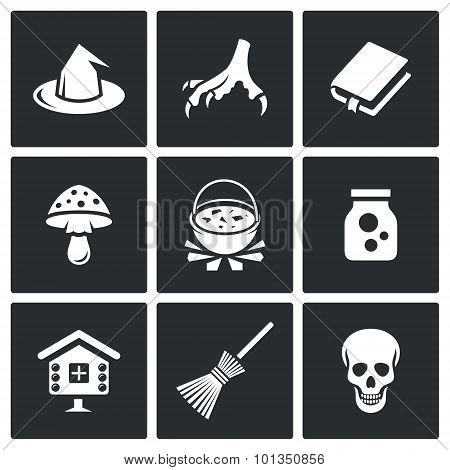 Witch Icons. Vector Illustration.